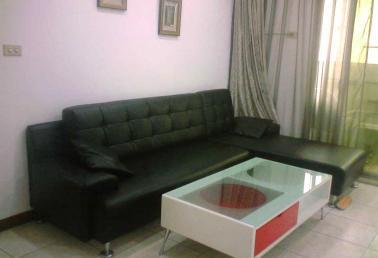 二手品皮沙发出售,☆l型黑色皮沙发+白红色造型茶几
