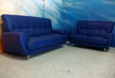 蓝色半牛皮沙发3