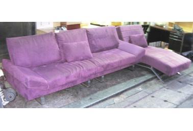 紫色顶级绒布l型沙发(贵妃椅)
