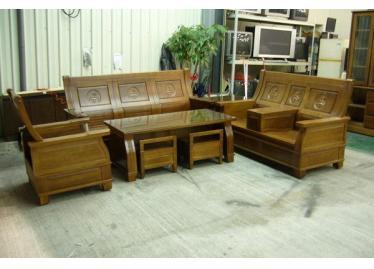全新木制沙发出售, 新樟木实木沙发椅 含大小茶几 591居家 家具